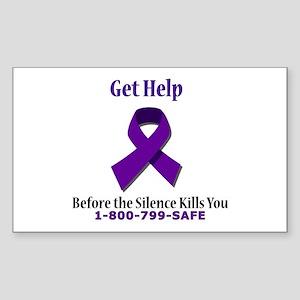 Purple Ribbon Rectangle Sticker