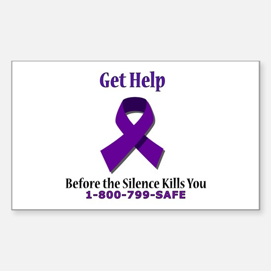 Purple Ribbon Rectangle Decal