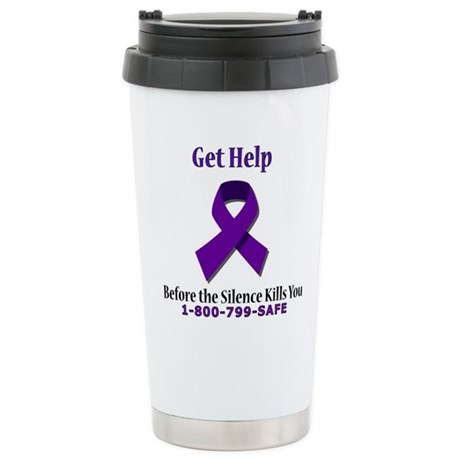 Purple Ribbon Stainless Steel Travel Mug