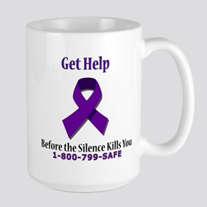 Purple Ribbon Large Mug