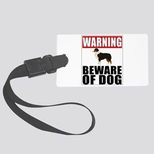 Warning Australian Shepherd Bewa Large Luggage Tag