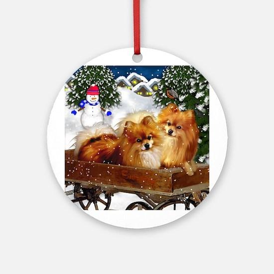 POMERANIAN DOGS SNOWMAN Ornament (Round)