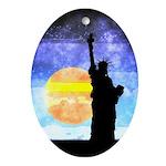 Majestic Lady Liberty Oval Ornament