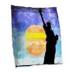 Majestic Lady Liberty Burlap Throw Pillow