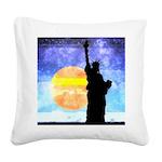 Majestic Lady Liberty Square Canvas Pillow