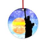 Majestic Lady Liberty Round Ornament