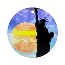 Majestic Lady Liberty Round Ornament