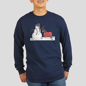 Snowman Treat Long Sleeve Dark T-Shirt
