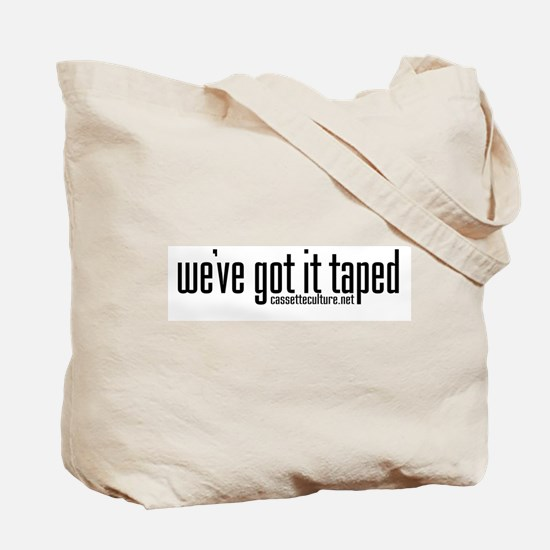 cassette culture text logo Tote Bag
