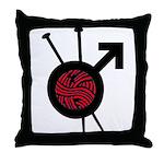 Men Who Knit Throw Pillow