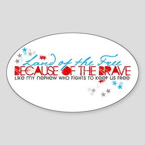 Land of the free: Nephew Oval Sticker