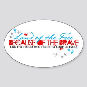 Land of the free: Niece Oval Sticker
