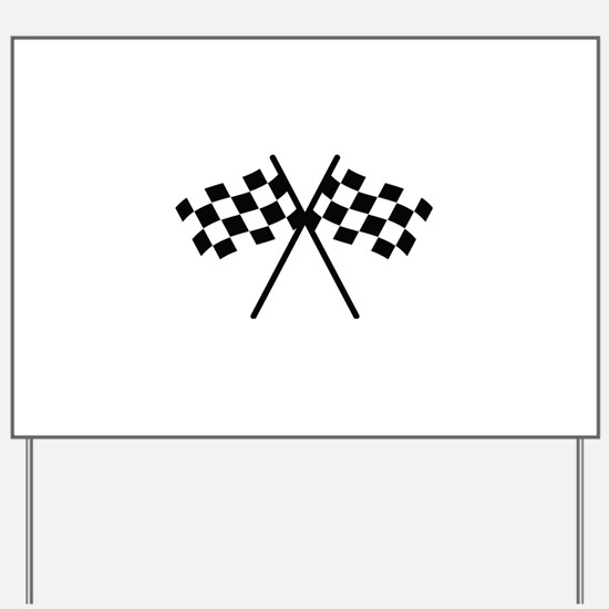 checker flag autorace Yard Sign
