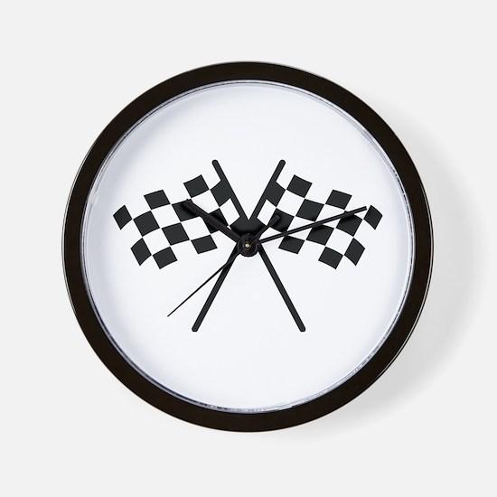 checker flag autorace Wall Clock