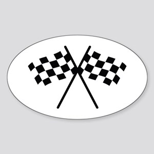 checker flag autorace Oval Sticker