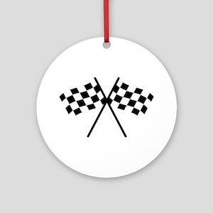 checker flag autorace Ornament (Round)