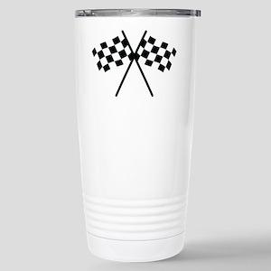 checker flag autorace Stainless Steel Travel Mug