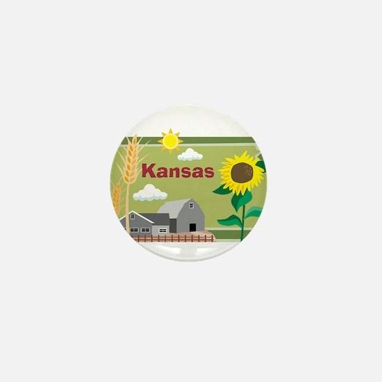 Kansas Map Mini Button