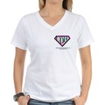 CDH Superhero Logo for Girls Women's V-Neck T-Shir