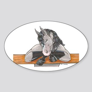 Horse Fence Oval Sticker