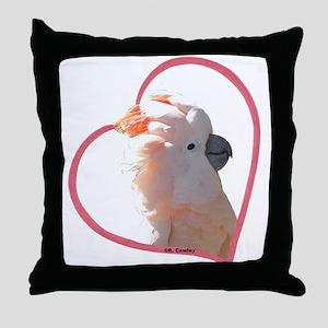 M Cockatoo Heart Line Throw Pillow
