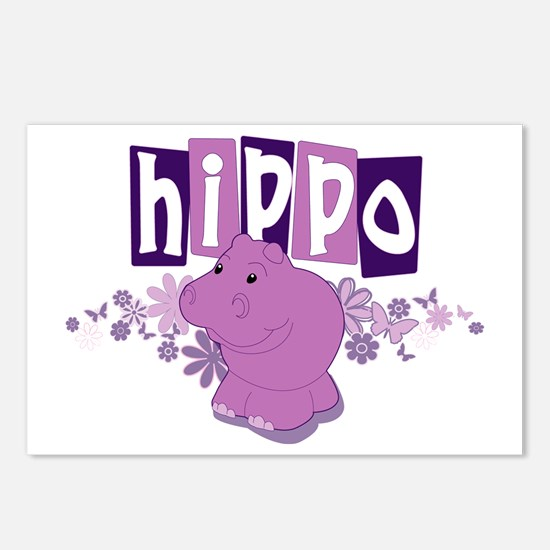 Cute Purple hippo Postcards (Package of 8)