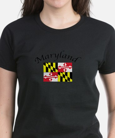 Maryland State Flag Women's Dark T-Shirt