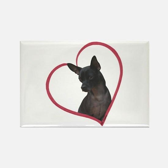 Blk Chi Heart Rectangle Magnet