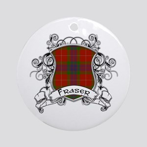 Fraser Tartan Shield Ornament (Round)