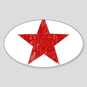 Punk Star Red Oval Sticker