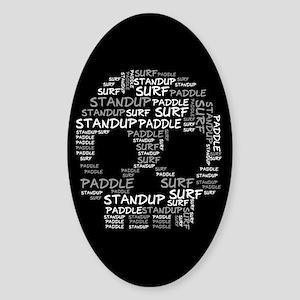 Black Wordup Standup Black Oval Sticker