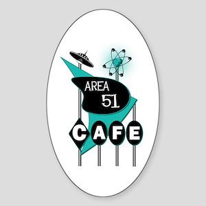 Area 51 Cafe Oval Sticker