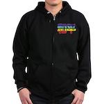 Chinese Rainbow Peace symbol Zip Hoodie (dark)