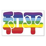 Chinese Rainbow Peace symbol Rectangle Sticker