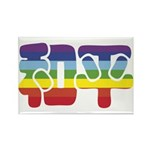 Chinese Rainbow Peace symbol Rectangle Magnet (100
