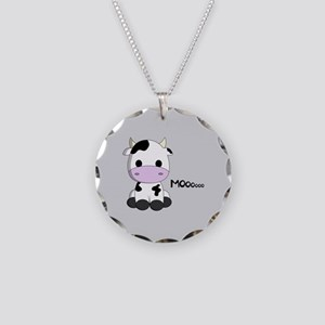 Cute baby cow cartoon Necklace Circle Charm