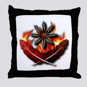 Native Red-Tailed Hawk Feathers Throw Pillow