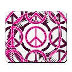 Pink Peace Symbols Mousepad