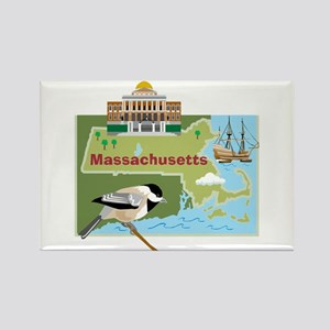 Massachusetts Map Rectangle Magnet