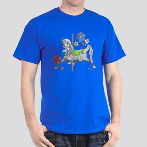 Carousel Horse Flowers Dark T-Shirt