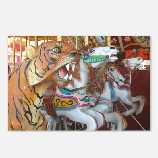 Tiger Horses on Carousel Postcards (Package of 8)