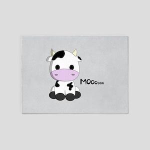 Cute baby cow cartoon 5'x7'Area Rug