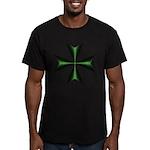 Green Maltese Cross Men's Fitted T-Shirt (dark)