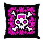 Pink Heart Skull Art Throw Pillow