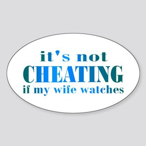 Wife Watches Oval Sticker