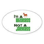 """Wiseass, Not Jackass"" Oval Sticker (50 pk)"
