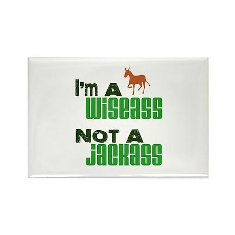 """""""Wiseass, Not Jackass"""" Rectangle Magnet (10 pack)"""