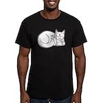 White ASL Kitty Men's Fitted T-Shirt (dark)