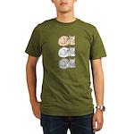 3 ASL Kitties Organic Men's T-Shirt (dark)