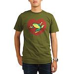 ASL Frog in Heart Organic Men's T-Shirt (dark)